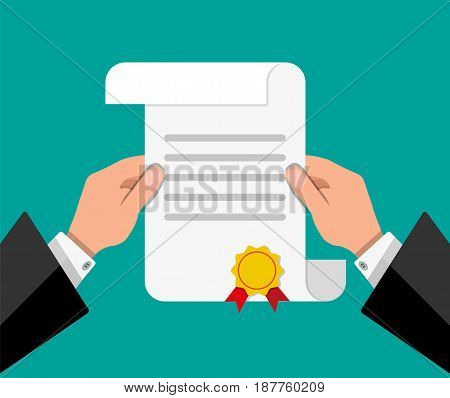 White unrolled paper diploma scroll with yellow stamp and red ribbons in hands of student. Graduation concept. Vector illustration in flat style