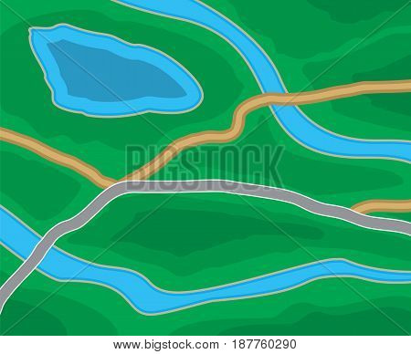 Abstract generic suburban city map with roads, parks, river, lake. GPS, navigation. Vector illustration in flat design