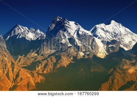 From left - Mount South Kabru (24215 feet) Mount North Kabru and Mount Talung (24200 feet) - beautiful view of Himalayan mountains at Ravangla Sikkim. Himalaya is the great mountain range in Asia .