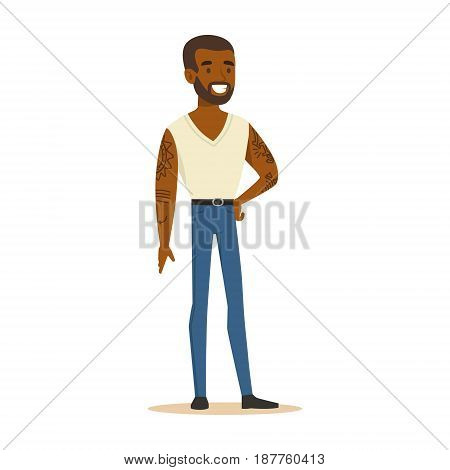 Smiling black man in a white sleeveless shirt with tattoos on his hands standing. Colorful cartoon character vector Illustration isolated on a white background