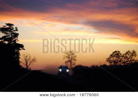 Headlights on and throwing dust in the air, a car races along a dirt road in a Brazilian rainforest