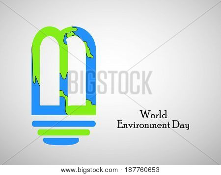 illustration of LED bulb in earth background with world environment day text