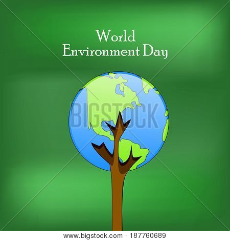 illustration of earth with world environment day text