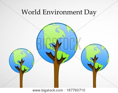 illustration of  earth with world environment day textk