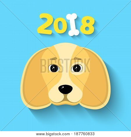 Happy New Year 2018. The year of the yellow earth dog. Beautiful figures on a blue background. White bone. The falling shadow. Vector illustration in a flat style