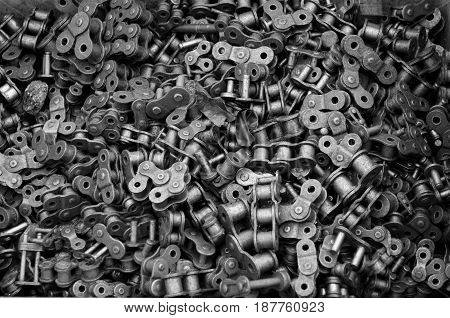 A selection of bicycle chain link pieces