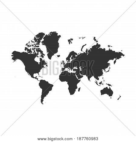 Vector Earth Map detailed Silhouette for Your Design