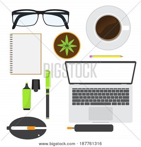 top view office equipment for your design. vector illustration.