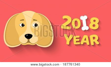 Happy New Year 2018. The year of the yellow earth dog. The dog looks at the bone. Isolated on white background. White bone. The falling shadow. Vector illustration in a flat style