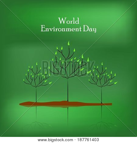 illustration of plants on green background with world environment day text