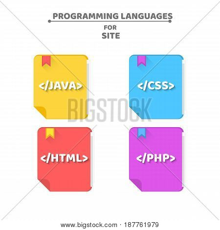 Multicolored books on programming languages. The falling shadow. Java php html css. Web icons for your projects. Vector illustration in a flat style