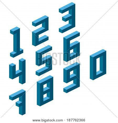 Collection of the isometric numbers, isometric grid 26.57 degree. Vector illustration