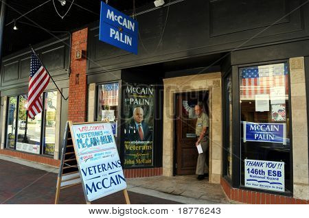 PENSACOLA, FLA - OCT 22: Signs at the Veterans for McCain campaign office in Pensacola, Florida, on October 22, 2008. Race between McCain and Obama in Florida is near even as election approaches.