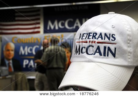 PENSACOLA, FLA - OCT 22: Campaign posters and cap closeup at the Veterans for McCain office in Pensacola, Florida, on October 22, 2008, as election day approaches.
