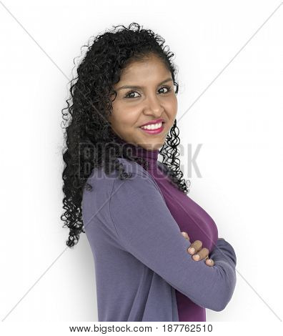 Woman Smiling Happiness Casual Studio Portrait