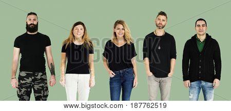 Set of Diversity Adult People Gesture Lifestyle Studio Portrait