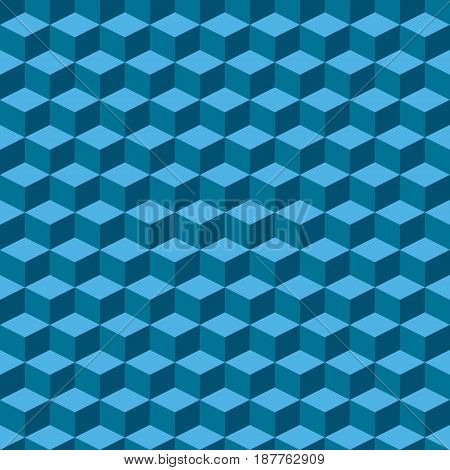 Isometric seamless blue block pattern with 26.57 degree for your design. Vector illustration