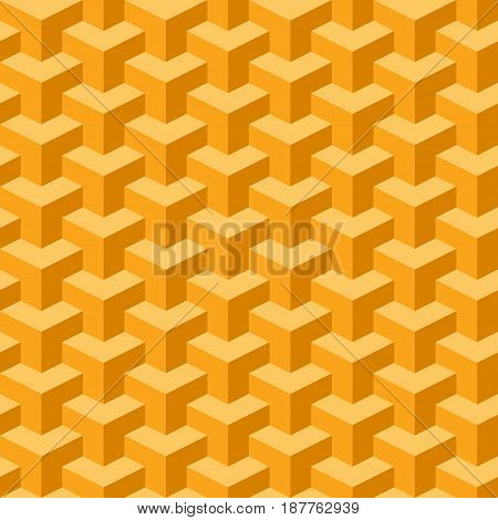 Isometric seamless orange block pattern with 26.57 degree for your design. Vector illustration