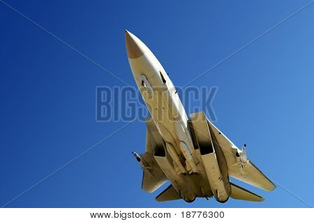 Closeup of fighter jet from below