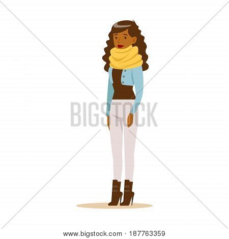 Beautiful young African American woman with curly long hair in casual clothes. Colorful cartoon character vector Illustration isolated on a white background
