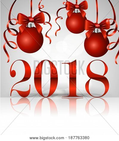 The inscription 2018, New Year's greeting card design template, Christmas balls with satin bows and serpentine.