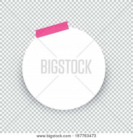 Sticky circle note isolated on transparent background.