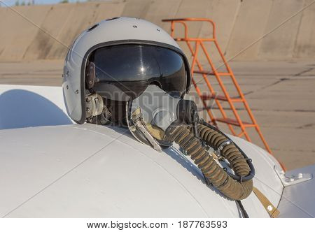Helmet And Oxygen Mask Of A Military Pilot