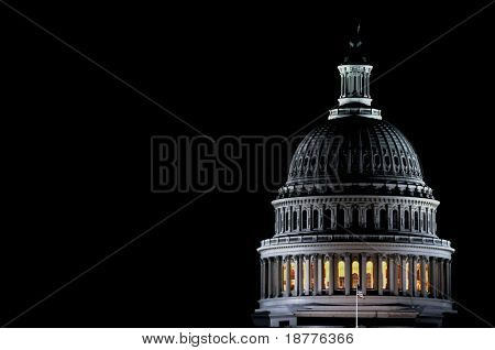 Closeup of the dome of the US Capitol by night