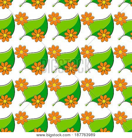 Seamless pattern with chamomiles and green leaf