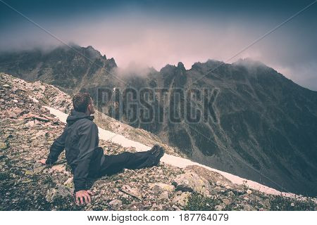 Hiker Relaxing On Top Of A Mountain. Instagram Stylisation