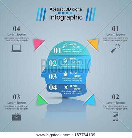 Head logo. Abstract 3d Infographics. Marketing info. Marketing info