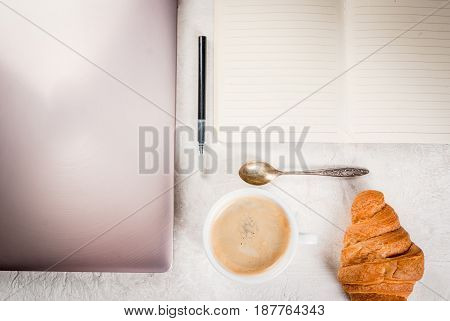 Coffee Break. Breakfast Or Lunch At Work. Desk In The Office. On A White Background. Laptop, Noteboo