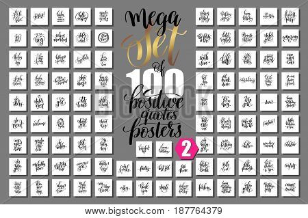mega set of 100 positive quotes posters about family, birthday party and baby born holiday, inspirational hand lettering big collection, calligraphy vector illustration