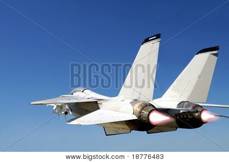 Grumman F-14 Tomcat fighter jet in full speed, two engines with afterburners giving more boost, viewed from behind left