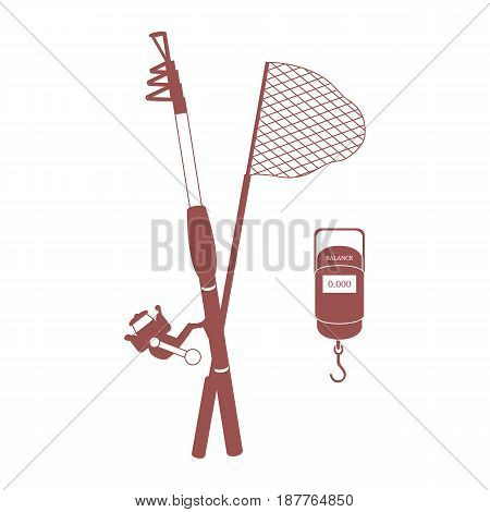 Stylized Icon Set Of Different Tools For Fishing
