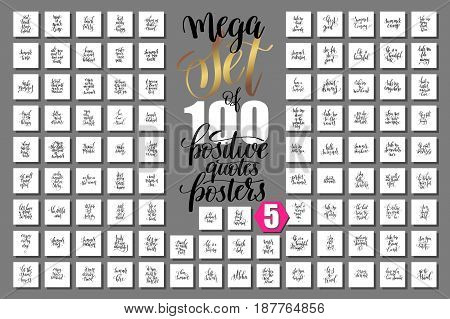 mega set of 100 positive quotes posters about happy summer, motivation and inspirational journey phrases to design, greeting card, printable wall art, calligraphy vector illustration big collection
