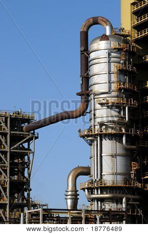 Distillation tower at a petrochemical plant