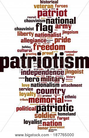 Patriotism word cloud concept. Vector illustration on white