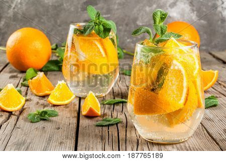 Summer Refreshing Orange Drink. Detox, Diet, Infused. Variations On Lemonade. Mineral Water With Pie