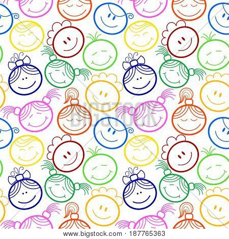Seamless pattern with children's faces, a light background.