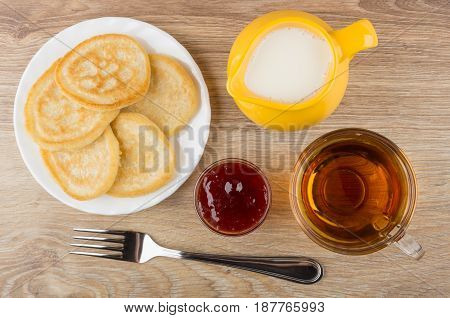 Plate With Pancakes, Yellow Jug With Milk, Cup Of Tea