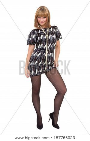 Full length shot of sexy woman in little dress, isolated on white background