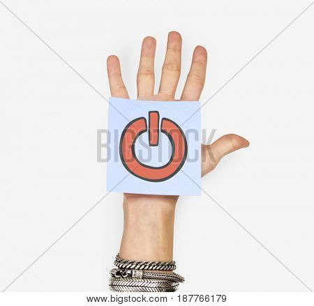Hand holding banner network graphic overlay