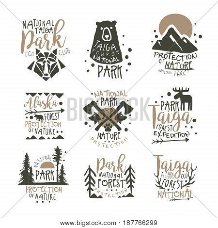 National park eco club labels set. Nature protection hand drawn vector Illustrations isolated on white background