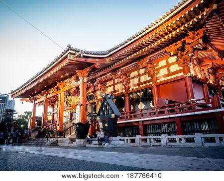 Tokyo Japan - May 4 2017: Tourists are entering the Sensoji shrine main building.
