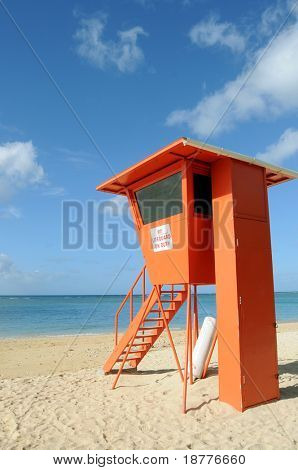 Lifeguard post on Waikiki Beach in Honolulu, Hawaii