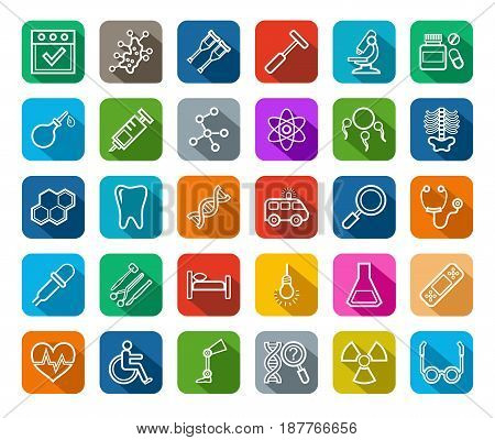 Icons for medicine vector. Medical services specialization. The profession of doctors. Medical instruments. White line images on a colored background with a shadow.
