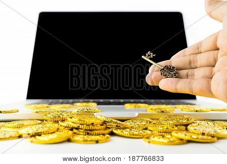Giving Key for Success and Richness online computer concept with blank computer screen