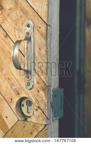 Open door of the rural old house.