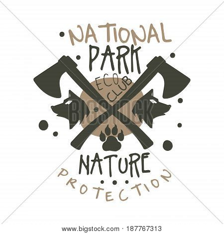 National park nature protection design template, hand drawn vector Illustration isolated on a white background